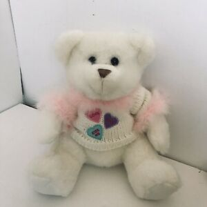 "White Teddy Bear Plush Stuffed Animal LOVE ME HUGS KISS ME Sweater 10"" EUC"