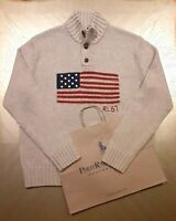 Polo Ralph Lauren Knit USA Flag Mock Button Sweater RL 67  L XL+FREE RL GIFT BAG