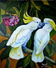 """""""Unexpected Kiss"""" Cockatoo Parrots Love Original Oil Painting by Nadia Bykova"""