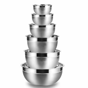 Set of 6 Stainless Steel Mixing Bowls Non Slip Nesting Whisking Cooking Baking