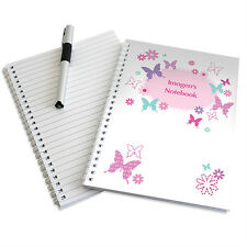 Childrens Butterfly Personalised A5 Notebook - Girls Notepad - Free Delivery