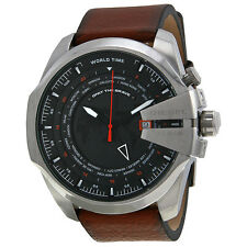 Diesel Mega Chief World Time Black Dial Brown Leather Mens Watch DZ4321