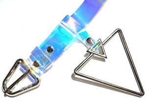 """HOLOGRAPHIC CLEAR BELT triangle loop 80s 90s cyber punk rave rainbow XS S 33"""" 7Z"""