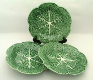 SET of 3 Bordallo Pinheiro Portugal 9-1/4 inch Luncheon Plates Green Cabbage VTG