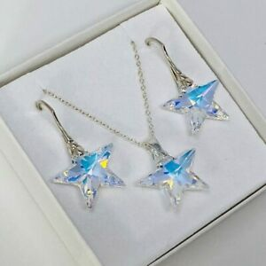 Sterling Silver AB Star Necklace And Earring Set Made With Swarovski® Crystal