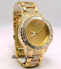 Gents Ladies Unisex Gold Plate Rapper Ice Gem Pimp Bling Baguette Crystals Watch