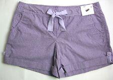 New York & Company Women's Shorts Size 8 Purple Striped Low Rise Cotton NWT