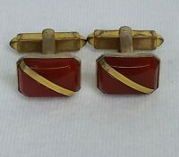 Pair Vintage Cuff Links Gold tone Rectangle Diagonal stripe in Red Brown Stone