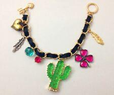 B281 Betsey Johnson Cactus Desert w/ Lucky Shamrock Heart Chain Bracelet US