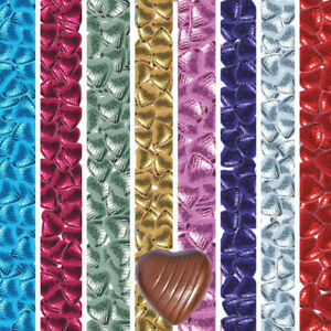 Hearts Shaped Foiled Milk Chocolate Quality Weddings Parties Favours 21 Colours
