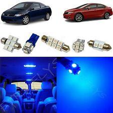 6x Blue LED lights interior package kit for 2006-2012 Honda Civic HC1B
