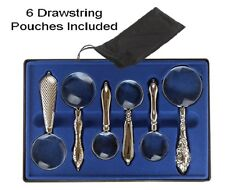 Magnifier Magnifying Glass 4X 10X Set Boxed Handheld Set of 6 Silver Victorian
