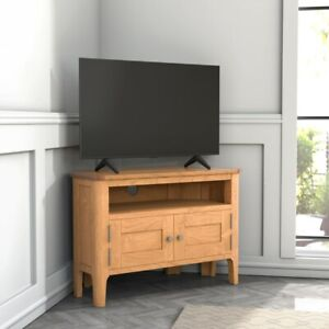 Wooden Modern Corner TV Unit Stand Living Room Home Decoration Wood Oak New UK