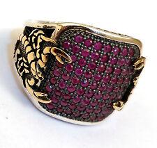 H.Q. Scorpion, Turkish 925 S. Silver Pink Ruby Stone Men's Ring Sz 9.5 #n061