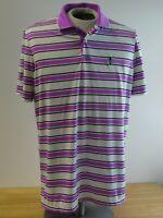 RLX Ralph Lauren Mens Large Purple navy Striped Poly Blend Golf Polo Shirt L