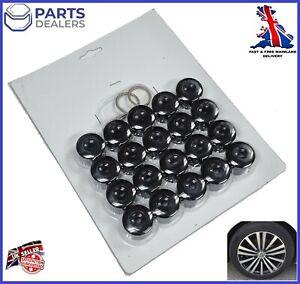 WHEEL NUT COVERS FOR SEAT IBIZA LEON ALTEA EXEO BLACK BOLT LOCKING CAPS 17mm x20