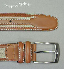 $59 New Jos A Bank Tan weave belt w// silver tone buckle 34