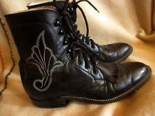 "8.5 B 8.5 B True VTG 70s Mens 7"" Heritage Kiltie Lug Black LEATHER Hondo BOOTS"