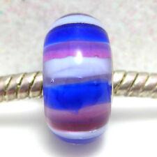 Violet Strisce Blu-Viola/Blu a Righe Vetro di Murano European Charm Bead