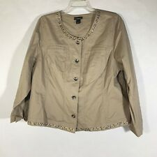 Lane Bryant Jeweled Khaki Jacket Womens Button Front Boxy Stitched Blazer Sz 24