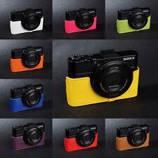 Real Leather Half Camera Case Bag for SONY RX100 V M5 M3 M4 MARK V IV 10 colors