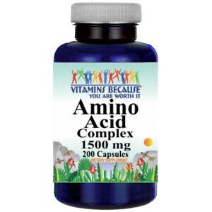 Amino Acid Complex 1500mg 13 ESSENTIAL AMINO ACIDS 200 Caps L-Glutathione 115mg