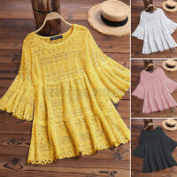 US STOCK Women Eyelets Summer Cover Up Shirt Tops Casual Blouse Tee T-Shirt Plus