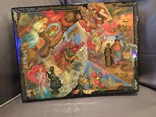 """Russian Lacquer Box """"Through The Looking Glass"""" Museum Quality Alice Wonderland"""