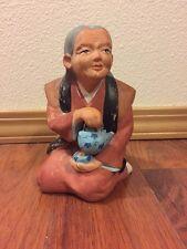 """Vintage Hakata Urasaki Doll Figure 7"""" Woman With Teapot In Hand Japanese Statue"""