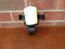 Rustic Wrought Iron Single Candle Holder Wall Mounted Farmhouse