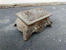 ANTIQUE SILVER PLATED CHINEISE ORIENTAL DECORATED DOUBLE INKWELL INK WELL BOX