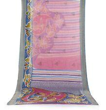 Vintage Sari 100% Pure Silk Printed Antique Craft Saree 5 Yard Fabric Multicolor