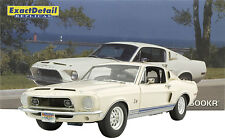 EXACT DETAIL 1968 FORD SHELBY GT 500 KR WIMBLEDON WHITE 1:18 VINTAGE LANE GMP