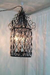 Wrought Iron scroll hanging electric lamp gothic lantern hanging light black