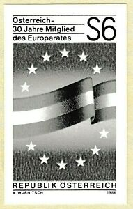 Austria 1986 6s Admission to the Council of Europe Flag of Austria Black Proof