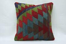 16''x16'' Anatolian Boho Cottage Pillow Turkish Kilim Pillowcase Ethnic Cushion