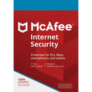 McAfee Internet Security - 1 Year - 10 Devices - PC MAC Smart Phones Tablet