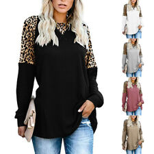 Women Crew Neck Leopard Print Long Sleeve T Shirt Casual Solid Blouse Loose Tops
