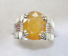 11.25 Ratti Certified Natural Yellow Sapphire 92.5 S Silver Astrological Ring