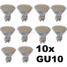 10x 5W GU10 3528 SMD 60LED Pure White 6500K High Power Spot Light Bulb Lamp 220V
