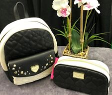 NEW! Betsey Johnson Backpack & Loaf Cosmetic Bag Quilted Hearts & Embellishment