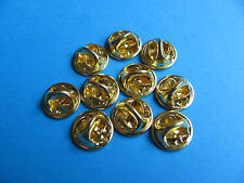 10, Pin Badge Butterfly Backs / Fixings / Clutch / Clasp / Clip.  GOLD Coloured.