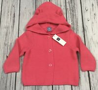 Baby Gap Girls 6-12 Months Bright Pink Sweater With Bear Ears. Nwt