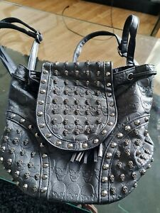 Faux Leather Studded Skull Backpack