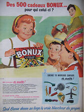 PUBLICITÉ DE PRESSE 1961 LES 500 CADEAUX BONUX POUR QUI CELUI-CI - ADVERTISING