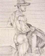 """9"""" x 12"""" drawing print nude male cowboy back view gay interest"""
