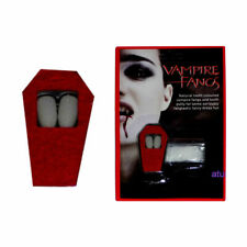 Vampire Dracula Fangs Teeth Caps With Adhesive Putty Halloween Fancy Dress White