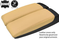 BEIGE GENUINE LEATHER 2X ARMREST LID COVERS FITS AUDI A8 2003-10