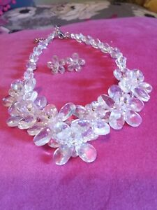 BUTLER AND WILSON CRYSTAL NECKLACE AND EARRINGS PALE PINK