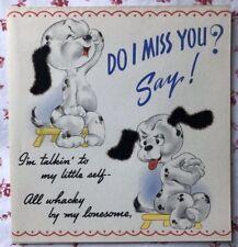 Vintage 1940s UNUSED Greeting Card Dalmatian Puppy Dogs Black Flocked Ears